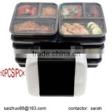 Stackable 3-compartment microwaveable safe food container ,10pcs per pck with paper sleeve wrap