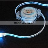 Factory directly supply led gradient color retractable cable ,color changing usb data cable