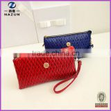 Coin Purse Bright Color Leather Women Three Layer Clutch Purse