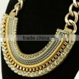 2016 Europe style funky gold chain necklace leather and box chain plain statement necklace