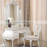 White bedroom furniture dresser table mirror and chair