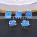 Dark Blue Quartz Stone Connector Beads, Square shape Gold plated Crystal Drusy Gem stone Druzy Connector Jewelry