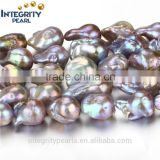 15mm AA grade irregular baroque nucleated purple lavendar freshwater pearl necklace strand