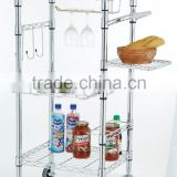 kitchen trolley shelf cart with wheels and MDF Top