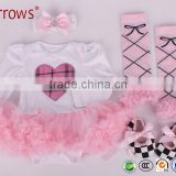 Baby Girl Long Sleeve Rompers With Tutu Dress+Headband+Shoes+Leggings 4Pcs Set Infant Summer One-piece suit