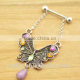 body piercing jewelry butterfly shape crystal dangle nipple ring