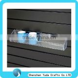 Long Lip Acrylic Water Cup shelfSlatwall Acrylic Shelf Clear Wall Mounted Plastic Slatwall Display Shelf for Cup