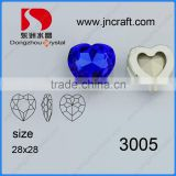 cheap wholesale lead free heart shape Capri blue fancy crystal stone with claw for jewelry accessories