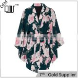 Oriental japanese design full sleeve chiffon kimono floral bridesmaid robe