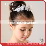 New design embroidered flowr piece with rhinestone trim flower girl tiara heaband