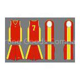 Customized Sportswear Red / Yellow Pro Mesh Sports Uniform Sublimated Basketball Uniforms