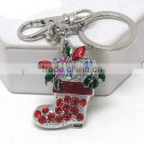 Crystal and epoxy christmas gift in red sock - 3 way pandant - brooch,key chain,necklace.