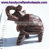 Elephant Wood Carved Figurine Statue Handcarved Handmade Wild African Animal Wooden Product Ecuador