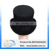 New design tall wool felt black top hat with leather sweatband