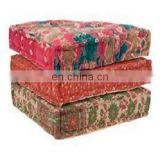 vintage kantha floor cushion cover squire pouf cover 16x12x8'' SSTH54