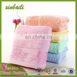 Low- Priced Flower Design Jacquard Plain Dyed Cotton Terry Bath Towel