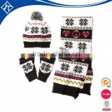 custom knit hat mitten scarf set,wholesale hat and scarf set