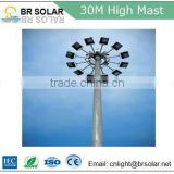 30m pole round tapered hexagonal metal halide light high mast lighting with led torch lights