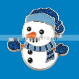 flashing glitter powder snowman metal badge with magnet