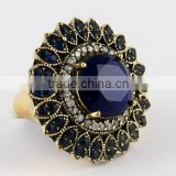 925 Sterling Silver Blue Onyx Ring with Brass, Silver Jewelry Wholesaler, Gemstone Silver Jewelry