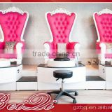 Royal king throne velvet high back salon chair station, pink luxury foot massage spa pedicure chair for nail