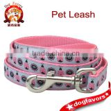 medium pink lady bug dog leash , dog leash with metal snap hook ,5' standard dog leash with sturdy hook