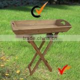 wooden folding tray table for balcony plants