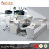 White and gray staff working desk office workstation design with hang-in cabinet for USA