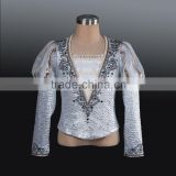 2014 New!!! male's ballet dance costumes long sleeves in silver