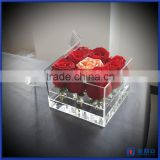 2016 wholesale clear acrylic flower box with lid / customized acrylic box manufacturer