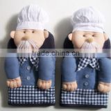 cartoon cotton oven glove kitchen funny oven mit with customize design -005 old chef with hat