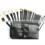 Belifa 30pc Black cosmetic makeup brush set with high quality goat hair black cosmetic pouch