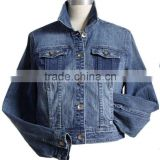 Ladies branded 100% cotton fashion wash long sleeve jackets ladies blue stone wash denim jeans coat high quality facotry