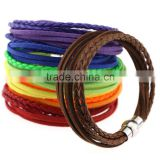 Wholesale Handmade Leather Wrap Wristband Cuff Punk Magnetic Buckle Bracelet Bangle Gifts