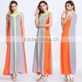 Women's Halter Rainbow Colour Block Maxi A-line Dress Chiffon Sleeveless Dress Casual Beach Clothes Factory