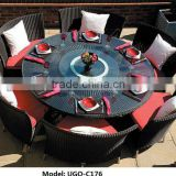 INQUIRY ABOUT round table and chair set rattan dining set wicker UGO-C176 with 6 seats chairs