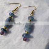 Unique handmade jewelry-blue kyanite gemstone round disc beads and dyed jade beads with gold vermail earring hook
