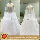 ASAJ-13 Real Pictures Sheer Beaded Neckline Luxury Pearls Crystal Ball Gown Wedding Dress with Long Sleeves
