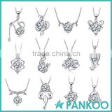 Hot sale fashion 12 zodiac signs pendant,925 sterling silver cz pendant necklace for women