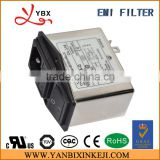 AC socket EMI line noise filter with switch and fuse,6A 220V