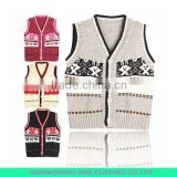 Korean fashion sleeveless sweater vest for girls cartoon knitting patterns kids vest sweaters candy knit vest child