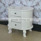 2014 elegant decorative oval white wooden 3 drawer chest country style living room cabinet design