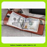 Promotional credit card holder PU money clip Functional PU leather stainless steel money clip 15024