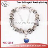 2015 Europe Style New Design Blue Love Heart Charm Murano Glass Beads Bracelets For Women