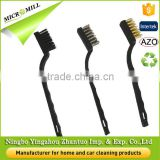 3 Piece Mini Wire Detail bristle brush, bass steel bristle brush for car cleaning