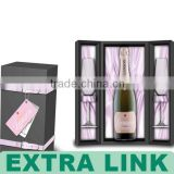 Newest style wine bottle package MDF wood material satin insert champagne glass gift box