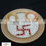 Handicraft Religious Gift Decor Art And Craft Gallery Hindu God Puja Marble Pooja Thali Plate