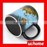 UCHOME 2016 New Magic Ceramic World Map Color Changing Mug,Creative Heat Transfer Printing Cup