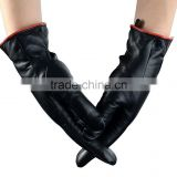 Women's Genuine Sheepskin Leather Winter Warm Simple Fashion Style Lined Gloves with Mink Fur Ball