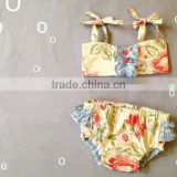 Baby girls summer time two pieces swimsuit floral and fruits patterns from China